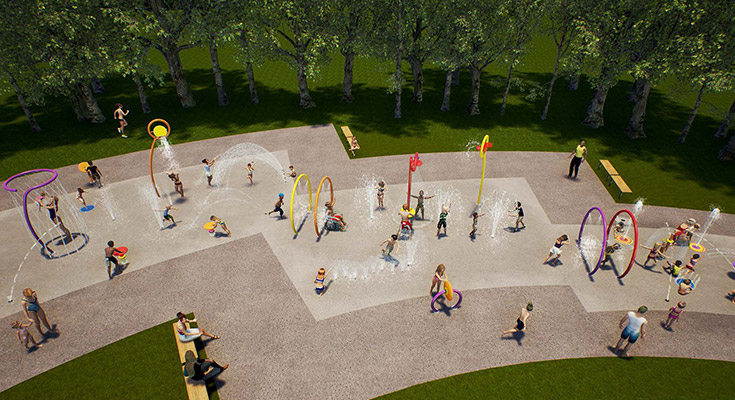 Rendering of future Valley Gardens Community Centre Spray Pad