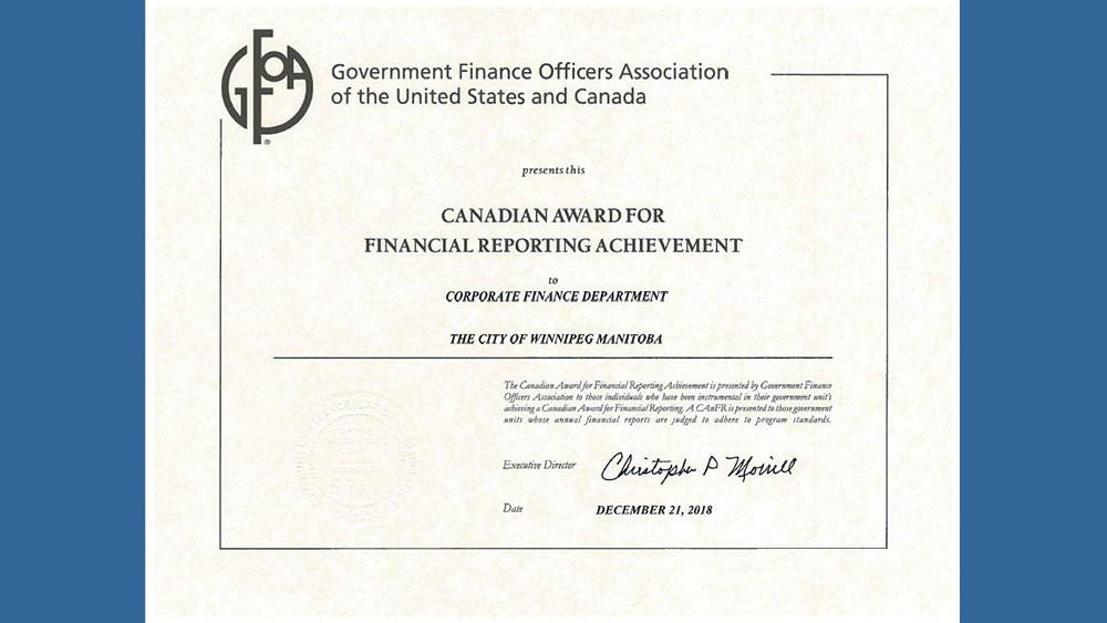 City of Winnipeg's Annual Financial Report nabs national award