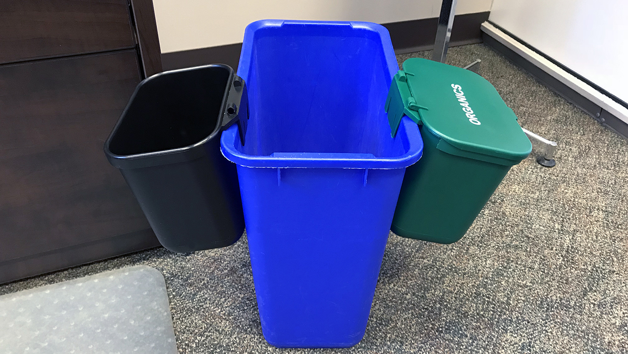 A new waste reduction strategy was put in place in the City Council Building and Susan A Thompson Building in October 2018 and has already made a positive impact on the environment.