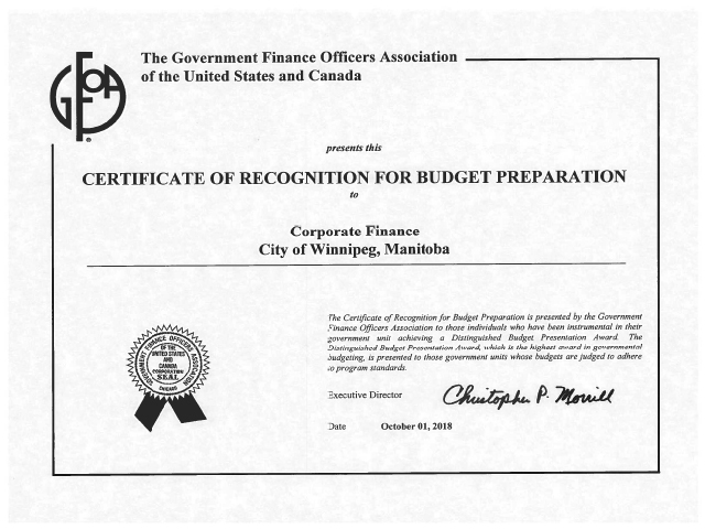 The City previously received the Canadian Award for Financial Reporting Award and the Distinguished Budget Presentation Award.