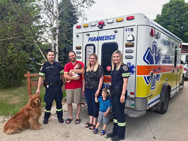 The family had the opportunity to thank the paramedic team in person.