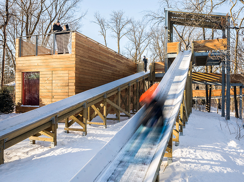 Manitoboggan features a viewing deck on top of a warming shelter with panoramic views of the St. Vital Park.