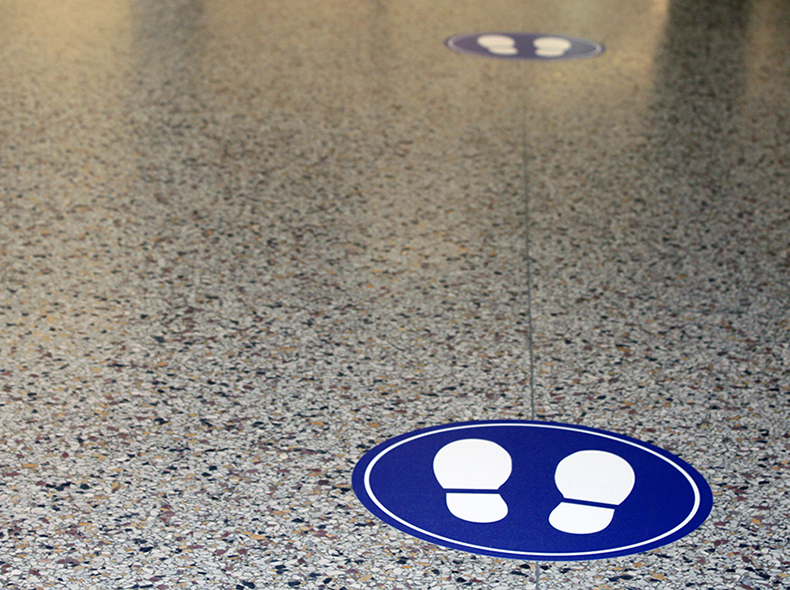 floor decals of footprints