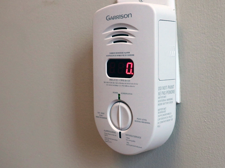 Carbon monoxide detector on wall