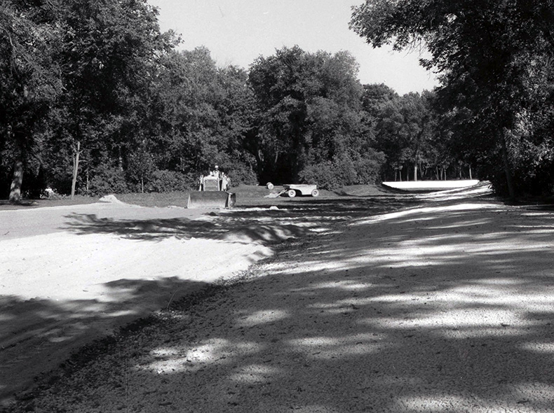 Landscaping of lake in St. Vital Park in 1966.