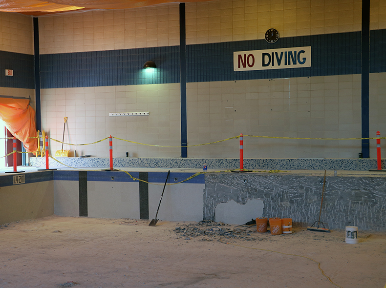 The two pools are undergoing concrete rehabilitation and will have new tile installed.
