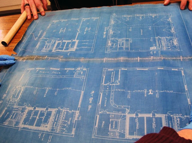 Blueprints, opened up on a table