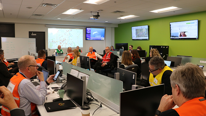 The Emergency Operations Centre during the October 2019 storm activation.