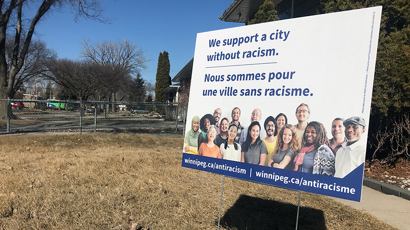 A limited number of lawn signs were also produced to show support for Anti-Racism Week. They were available at Winnipeg Public Library branches but were quickly picked up by residents. .