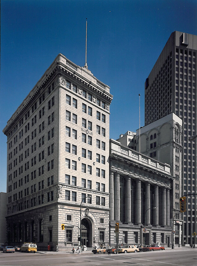 Main Street's Bank of Hamilton (left) and Bank of Commerce (right) were two of the earliest structures designated by the City of Winnipeg in 1979. City of Winnipeg