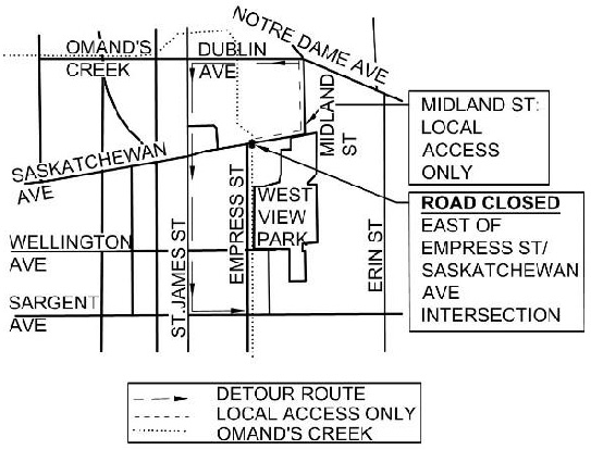 DETOUR MAP Saskatchewan Avenue over Omand's Creek Bridge Replacement